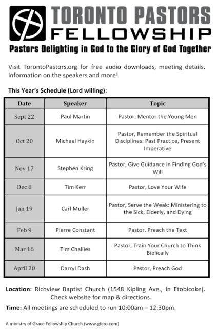 Toronto Pastors Fellowship Schedule