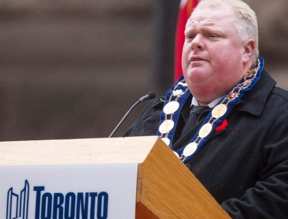 Toronto Mayor Rob Ford speaks from the podium at the cenotaph during a Remembrance Day service in Toronto on Monday. (Chris Young/Canadian Press)